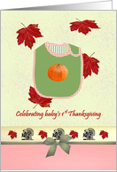Baby's 1st Thanksgiving, bib with pumpkin motif, Fall foliage card