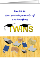 Congratulations to parents of twins graduating, books and caps card