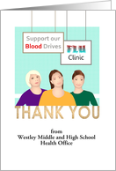 Thank you from school health team to community members students card