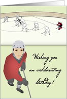 Birthday for girl on ice hockey team, players in the rink card