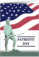 Patriots' Day, illustration of Lexington Minuteman, Stars and Strips card