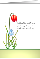 Joyful reunion mother with birth son illustrated as two flowers card