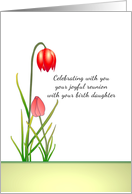 Joyful reunion mother with birth daughter illustrated as two flowers card