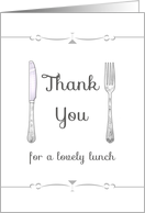 Thank you for lunch, knife and fork setting card