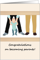Gay couple becoming parents, two dads and a cute toddler card