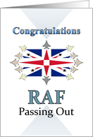 Congratulations RAF Passing Out, aircraft in formation Union Jack card