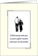 Joyful Reunion with Birth Mother, Son Guiding Mother Walking Together card