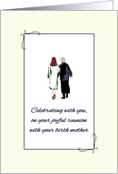 Joyful Reunion with Birth Mother, Daughter and Mom Walking Together card
