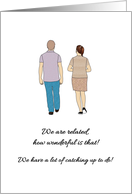 Newly Found Family Member, Man and Lady Walking and Chatting card