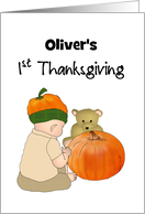 Baby's 1st Thanksgiving, Baby Wearing Pumpkin Hat card