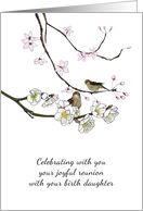 Joyful Reunion with Birth Daughter, Two Birds on Blossom Branch card