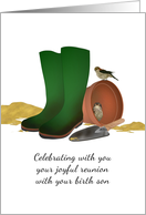 Joyful Reunion with Birth Son, Two Birds Sheltering in Flower Pot card