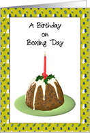 Birthday on Boxing Day, Lit Candle on Christmas Pudding card
