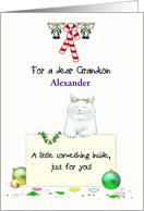 Christmas Money Gift for Young Grandson, Cute Cat Holding Note card
