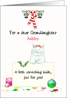 Christmas Money Gift for Young Granddaughter, Cute Cat Holding Note card