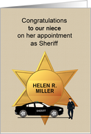 Sheriff Appointment, Lady Sheriff and Vehicle, Custom Name Relation card