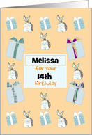 Custom Age and Name Birthday Mercats and Presents card