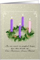 Evergreen Advent Wreath Purple Rose Colored Candles Mottled Design card