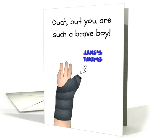 Broken Right Thumb Young Boy's Hand in Cast Custom card (1654112)