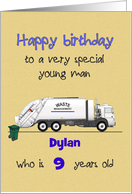 Birthday for Young Boy Garbage Truck and Bin Custom Name and Age card