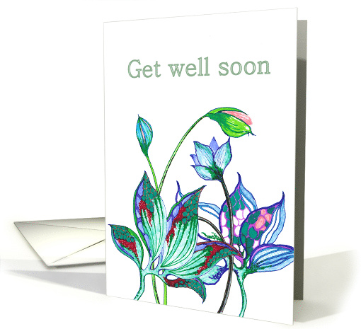 Get Well, Feel Better, Hand drawn abstract florals card (855916)