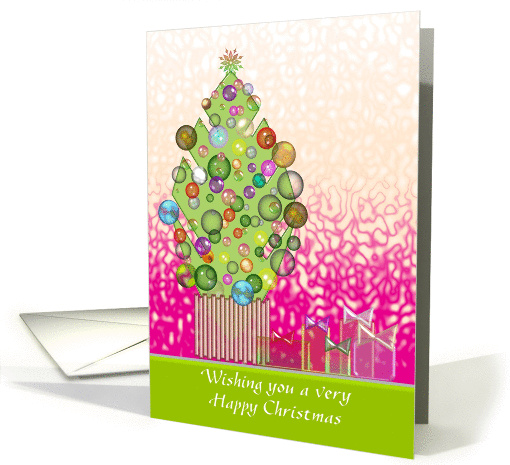Christmas tree with colorful baubles and presents card (859488)