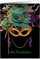 Three Colors & a Mask, Mardi Gras Invitation card