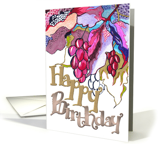 Birthday, Abstract leaves and berries card (878458)