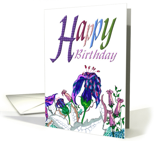 Birthday, Abstract Flowers & Leaves card (881746)