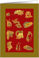 Chinese New Year, Twelve Animals of the Chinese zodiac card