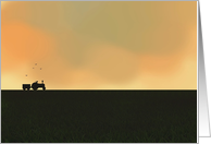 Dawn sky, Farmer and tractor in field, Blank card