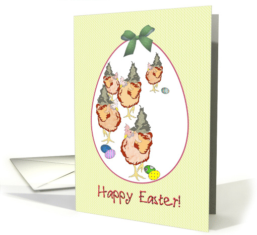 Easter chicken parade, Chickens and easter eggs card (914522)