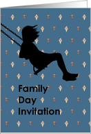 Family Day Invitation, Silhouette of girl on a swing card