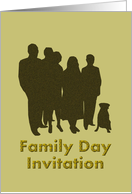 Family Day Invitation, Silhouette of family members and dog card