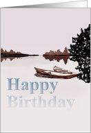 Birthday, Sketch of boats on a lake card