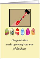 Congratulations on opening of nail salon, Pretty nails card