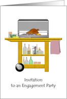 BBQ themed engagement party invitation, barbecue trolley card