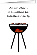BBQ themed engagement party invitation, Barbecue on the go card