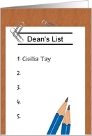 Customizable congratulations on making Dean's List card