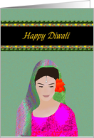 Diwali, Lady with Flowers in her Hair card