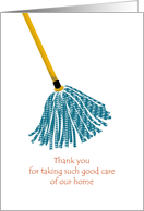 Thank you to caretaker, A clean mop card