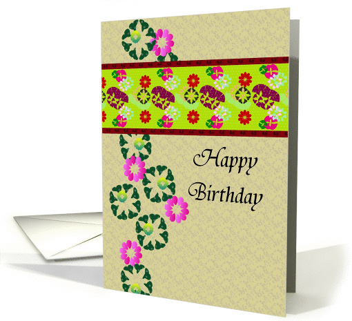 Birthday, abstract colorful florals card (946861)