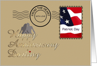 Wedding anniversary on Patriot Day, With love from the heart card