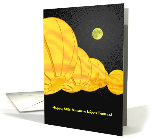 Mid-autumn moon festival, A row of lanterns in moonlight card (962619)