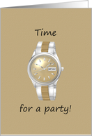 Invitation to birthday party, Man's wrist watch card