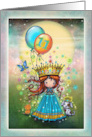 Eleven Year Old Girls Birthday Card Little Princess with Balloons card
