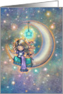 Cute Little Girl with Kitty on Crescent Moon Thinking of You card