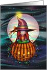 Halloween Night Cute Witch on Pumpkin Floating By Moon card