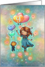 Nine Year Old Birthday Little Girl with Kitty and Heart Balloons card