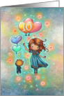 Ten Year Old Birthday Little Girl with Kitty and Heart Balloons card